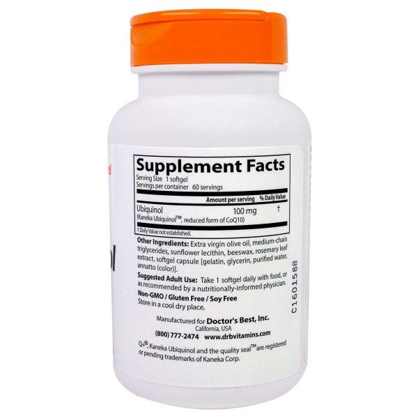 Doctor's Best, Ubiquinol com Kaneka, 100 mg, 60 Cápsulas Gelatinosas   Comprar Suplemento em Promoção Site Barato e Bom