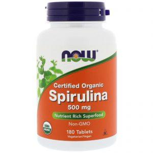 Now Foods, Spirulina Orgânica Certificada, 500 mg, 180 Tabletes   Comprar Suplemento em Promoção Site Barato e Bom