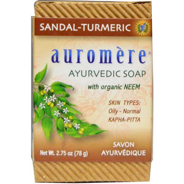 Auromere, Sabonete Ayurvédico, com Neem Orgânico, Sândalo-Turmérico, 2,75 oz (78 g)   Comprar Suplemento em Promoção Site Barato e Bom