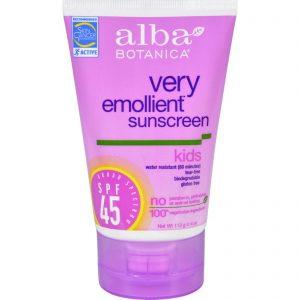 Alba Botanica Natural Very Emollient Sunscreen For Kids - Spf 45 - 4 Oz   Comprar Suplemento em Promoção Site Barato e Bom