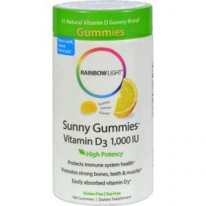 Rainbow Light Vitamin D Sunny Gummies Sour Lemon - 1000 Iu - 100 Gummies   Comprar Suplemento em Promoção Site Barato e Bom