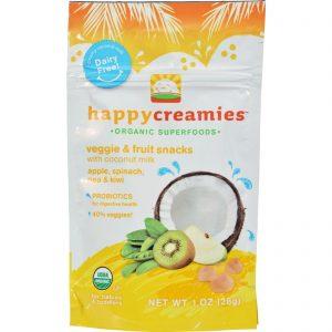 Happy Creamies Organic Snacks - Apple Spinach Pea Kiwi - Case Of 8 - 1 Oz   Comprar Suplemento em Promoção Site Barato e Bom