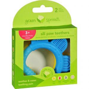 Green Sprouts Teether - Sili Paw - Aqua And Yellow - 2 Pack   Comprar Suplemento em Promoção Site Barato e Bom