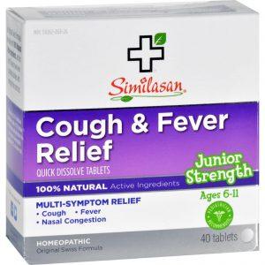 Similasan Cough And Fever Relief - Junior Strength - Ages 6 To 11 - 40 Tabs   Comprar Suplemento em Promoção Site Barato e Bom