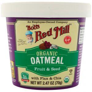 Bob's Red Mill, Xícara de Aveia Orgânica, Frutas e Sementes com Linhaça e Chia, 2,47 (70 g)   Comprar Suplemento em Promoção Site Barato e Bom
