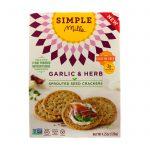 Simple Mills, Sprouted Seed Crackers, Garlic & Herb, 4.25 oz   Comprar Suplemento em Promoção Site Barato e Bom