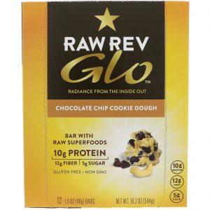 Raw Revolution, Glo, Barra de Gotas de Chocolate e Massa de Cookies, 12 Barras, 1,6 oz (46 g) Cada   Comprar Suplemento em Promoção Site Barato e Bom