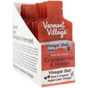 Vermont Village Vinegar Shots, Organic, Apple Cider Vinegar Shot, Cranberries & Honey, 12 Pack, 1 oz (28 g) Each   Comprar Suplemento em Promoção Site Barato e Bom