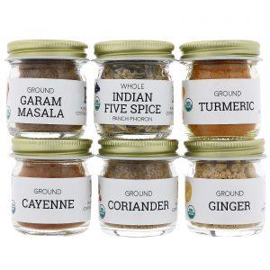 Pure Indian Foods, Orgânico, Kit Iniciante de Temperos Indianos, Nível de Experiência: Intermediário, Pacote de Variedades, 6 Temperos   Comprar Suplemento em Promoção Site Barato e Bom
