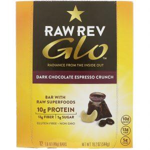 Raw Revolution, Glo, Barra Crocante de Espresso e Chocolate Amargo, 12 Barras, 1,6 oz (46 g) Cada   Comprar Suplemento em Promoção Site Barato e Bom