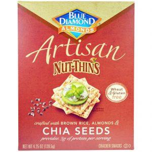 Blue Diamond, Artisan Nut-Thins, Biscoito Craker com Sementes de Chia, 120,5 g   Comprar Suplemento em Promoção Site Barato e Bom