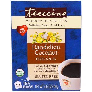 Teeccino, Chicory Herbal Tea, Dente-de-Leão e Coco, Sem Cafeína, 10 Sachês, 2,12 oz (60g)   Comprar Suplemento em Promoção Site Barato e Bom