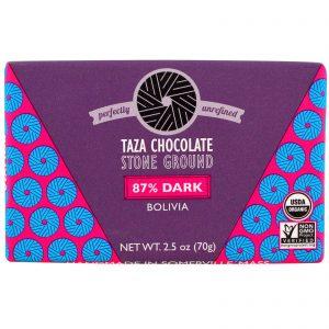 Taza Chocolate, Orgânico, Barra de Chocolate 87% Amargo e Moído em Pedra, Bolívia, 70 g (2,5 oz)   Comprar Suplemento em Promoção Site Barato e Bom