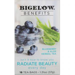Bigelow, Benefícios, irradiar beleza, chá de ervas de Mirtilo e Aloés, 18 saquinhos de chá, 1,31 onças (37 g)   Comprar Suplemento em Promoção Site Barato e Bom