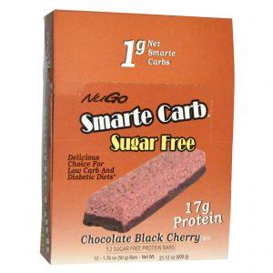 NuGo Nutrition, Smarte Carb, Chocolate e Cereja Preta, Sem Açúcar, 12 Barrinhas, 1.76 oz (50g) Cada   Comprar Suplemento em Promoção Site Barato e Bom