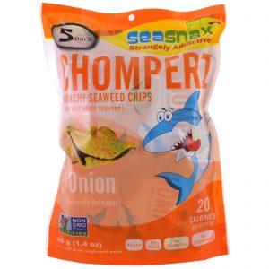 SeaSnax, Chomperz, Chips Crocantes de Alga Marinha, Cebola, 5 pacotes de Porção Única, 8g (0,28 oz) Cada   Comprar Suplemento em Promoção Site Barato e Bom