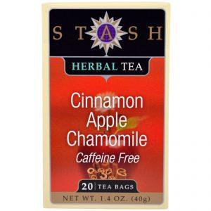 Stash Tea, Chá Herbal, Canela, Maçã e Camomila, Sem Cafeína, 20 Sachês, 1,4 oz (40 g)   Comprar Suplemento em Promoção Site Barato e Bom