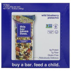 This Bar Saves Lives, LLC, Wild Blueberry Pistachio, 12 Bars, 1.4 oz (40 g) Each   Comprar Suplemento em Promoção Site Barato e Bom