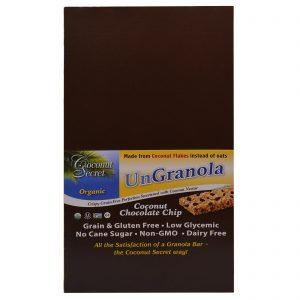Coconut Secret, Barra Orgânica de Chocolate, Coco e Granola, 12 Barras, 34 g Cada   Comprar Suplemento em Promoção Site Barato e Bom
