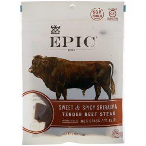 Epic Bar, Petiscos, carne de boi macia, sriracha doce e picante, 2.5 oz (71 g)   Comprar Suplemento em Promoção Site Barato e Bom