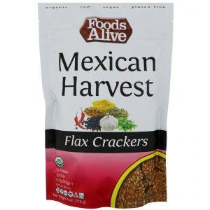 Foods Alive, Flax Crackers, colheita mexicana, 4 oz (113 g)   Comprar Suplemento em Promoção Site Barato e Bom
