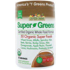 Country Farms, Super Verdes, Fórmula de Alimentos Integrais Certificadamente Orgânica, Sabor Delicioso de Chocolate, 10,6 oz (300 g)   Comprar Suplemento em Promoção Site Barato e Bom
