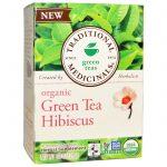 Traditional Medicinals, Chá Verde Orgânico Hibisco, 16 Saquinhos de Chá Embalados, 1,13 oz (28 g)   Comprar Suplemento em Promoção Site Barato e Bom