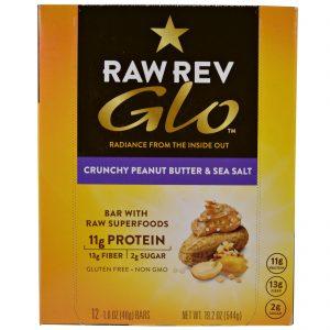Raw Revolution, Glo, Manteiga de Amendoim Crocante e Sal Marinho, 12 Barras, 1,6 oz (46 g)   Comprar Suplemento em Promoção Site Barato e Bom