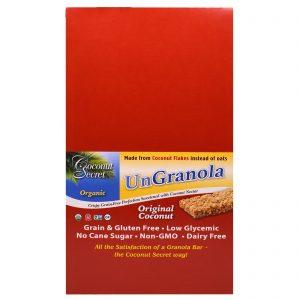 Coconut Secret, Barra Orgânica Original de Coco e Granola, 12 Barras, 34 g Cada   Comprar Suplemento em Promoção Site Barato e Bom