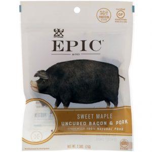 Epic Bar, Mordidas, bacon sem gordura e carne de porco, bordo doce, 2,5 onças (71 g)   Comprar Suplemento em Promoção Site Barato e Bom