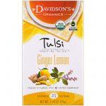 Davidson's Tea, Tulsi, orgânico, chá de limão e gengibre, sem cafeína, 25 sacos de chá, 1,58 oz (45 g)   Comprar Suplemento em Promoção Site Barato e Bom
