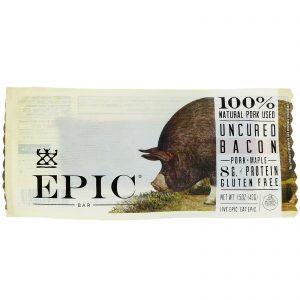 Epic Bar, Bacon Não Curado, Barra de Carne de Porco + Bordo, 12 Barras, 43 g Cada   Comprar Suplemento em Promoção Site Barato e Bom