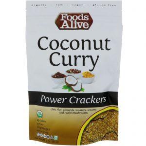 Foods Alive, Power Crackers, Coco e curry, 3 oz (85 g)   Comprar Suplemento em Promoção Site Barato e Bom