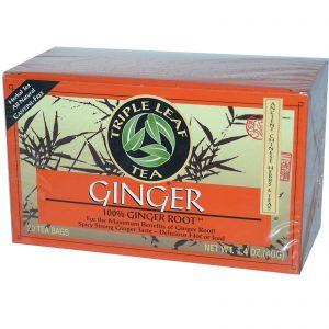 Triple Leaf Tea, Gengibre, Sem Cafeína, 20 Saquinhos de Chá, 1,4 oz (40 g)   Comprar Suplemento em Promoção Site Barato e Bom