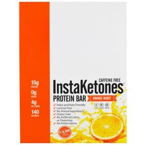 Julian Bakery, InstaKetones Barra de Proteínas, não contém cafeína, Explosão de Laranja, 12 Barras, 1,56 lbs (708 g)   Comprar Suplemento em Promoção Site Barato e Bom