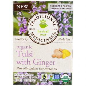Traditional Medicinals, Tulsi Orgânico com Gengibre, 16 Saquinhos de Chá, 1,13 oz (32 g)   Comprar Suplemento em Promoção Site Barato e Bom