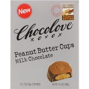 Chocolove, Copinhos de manteiga de amendoim, chocolate ao leite, 12- 2 embalagens de copinhos, 1,2 oz (34 g) cada   Comprar Suplemento em Promoção Site Barato e Bom