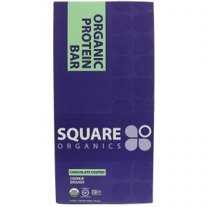 Square Organics, Barra de Proteína Orgânica, massa de biscoito com cobertura de chocolate, 12 Barras, 1,6 onças (44 g) cada   Comprar Suplemento em Promoção Site Barato e Bom
