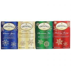 Twinings, Pacote de Chá Misto de Ervas, Edição Especial Festiva, 4 Caixas, 20 Sachês em Cada   Comprar Suplemento em Promoção Site Barato e Bom