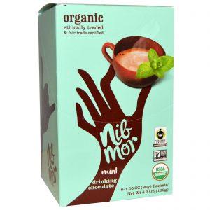 Nibmor, Chocolate Com Menta Orgânico Em Pó Para Bebidas, 6 Sachês, 1,05 oz (30 g) Cada   Comprar Suplemento em Promoção Site Barato e Bom