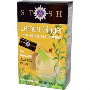 Stash Tea, Chá Verde Gelado em Pó, Limão e Gengibre, 10 Saquinhos de Pó, 0.7 oz (20 g)   Comprar Suplemento em Promoção Site Barato e Bom