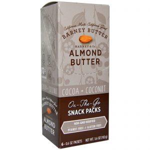 Barney Butter, Almond Butter, On the Go Snack Packs, Cocoa + Coconut, 6 Packets, 0.6 oz (17 g) Each   Comprar Suplemento em Promoção Site Barato e Bom