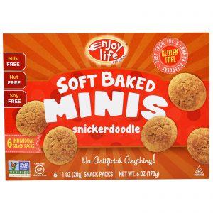 Enjoy Life Foods, Soft Baked Minis, Biscoitos Snickerdoodle, 6 Pacotes Individuais, 1 oz (28 g) Cada   Comprar Suplemento em Promoção Site Barato e Bom