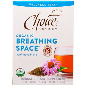 Choice Organic Teas, Orgânico, Respiração Profunda, Mistura de Equináceas, Sem Cafeína, 16 Sachês, 90 oz (25,6 g)   Comprar Suplemento em Promoção Site Barato e Bom