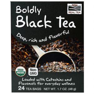 Now Foods, Chá Real Tea, Chá Orgânico Preto de Coragem, 24 Saquinhos de Chá, 48 g   Comprar Suplemento em Promoção Site Barato e Bom