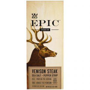 Epic Bar, Tirinha de Carne de Veado com Sal Marinho e Pimenta, 20 Tirinhas, 23 g Cada   Comprar Suplemento em Promoção Site Barato e Bom