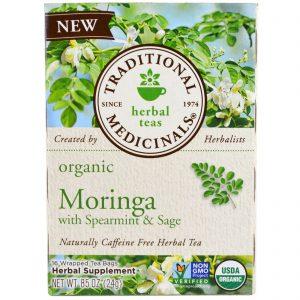 Traditional Medicinals, Moringa orgânica com hortelã e sálvia, 16 saquinhos de chá embalados, 86 oz (24 g)   Comprar Suplemento em Promoção Site Barato e Bom