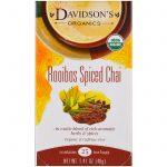Davidson's Tea, Orgânico, Chai de Rooibos com Especiarias, Sem Cafeína, 25 Saquinhos, 40 g   Comprar Suplemento em Promoção Site Barato e Bom