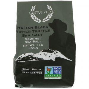 Gustus Vitae, Sal gurmê, sal marinho de trufas negras italianas de inverno, 1 libra (453 g)   Comprar Suplemento em Promoção Site Barato e Bom