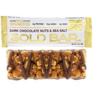 California Gold Nutrition, Gold Bar, Barra de Chocolate Negro com Nozes, Castanhas e Sal Marinho, 1.4 oz (40 g)   Comprar Suplemento em Promoção Site Barato e Bom